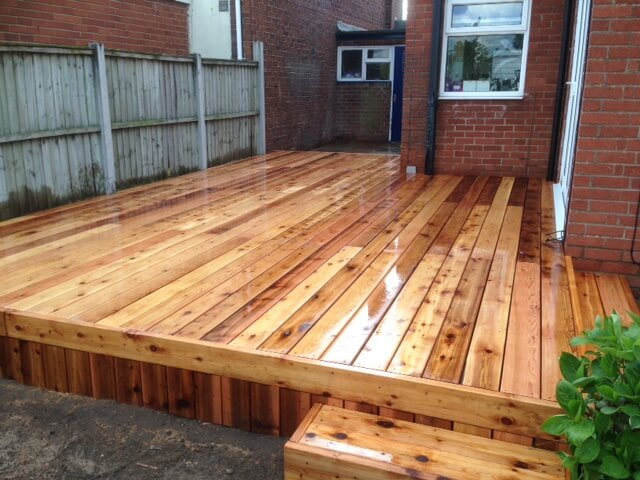 Cedar Decking With Natural Stone Paving Ainsdale Southport